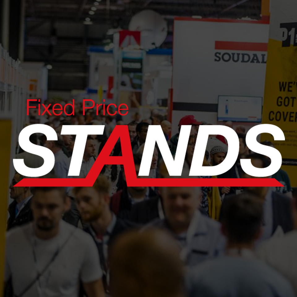 Fixed Price Stands logo on a darkened background showing a crowd