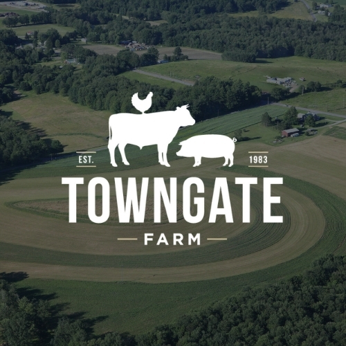 Towngate Farm logo on a background showing a farming field