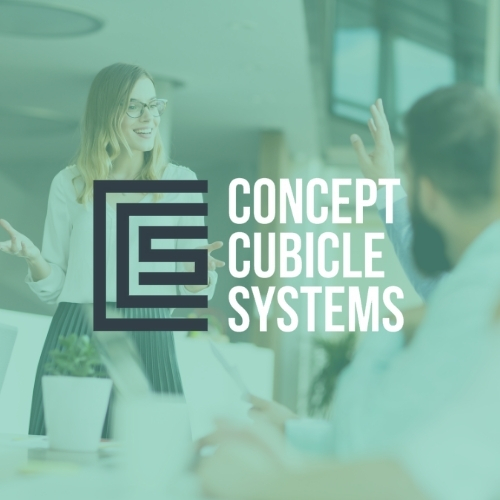 Concept Cubicle Systems logo on a green background showing a meeting of representatives