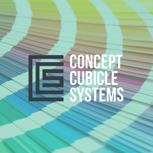 Concept Cubicle Systems logo on a multicoloured background