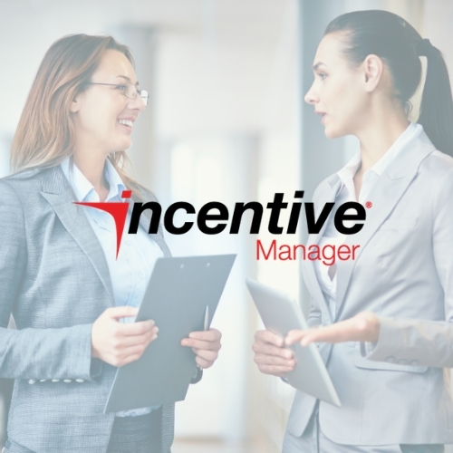 Incentive Manager logo on a light background showing two women conversing in business attire