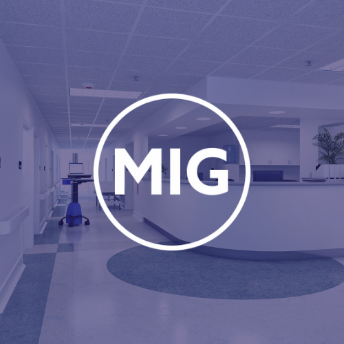 MIG logo on a purple background showing a hospital reception area