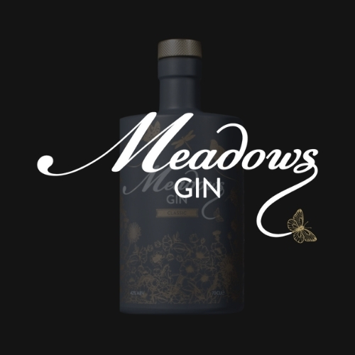 Meadows Gin, a client of FUSE10, rendered image, showing the product image and brand logo