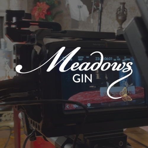 Meadows Gin logo on a dark background showing a video camera from a shoot